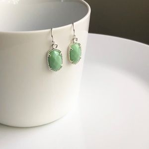 Jewelry - NEW Small Oval Earrings (silver + mint)